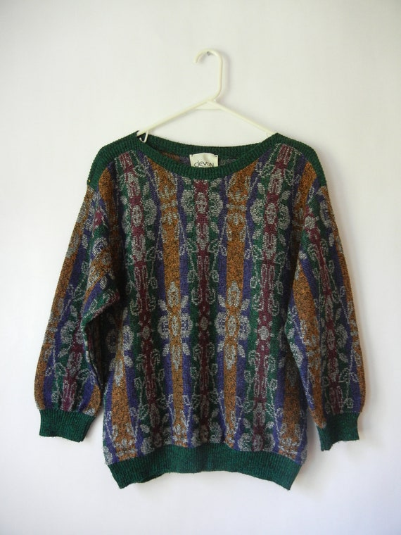 Vintage Oversized Sweater, Size Small-Medium, Hipster, Beatnik, Indie, Fall, Forest Green, Mustard, 80's, Boho