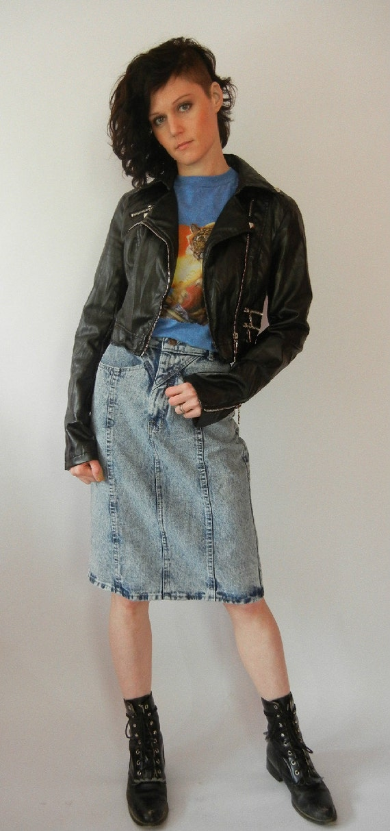 Vintage Acid Washed Skirt, Ultra High Waisted, 80's, 90's, Touche, Size XS, Tumblr, Rad