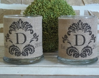 Personalized Damask Est. Date Burlap Candle Holders