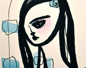 Skye Walking and Wearing the Mod Blues- Mixed Media- Original Watercolor and Ink- Black Sky Blue Minimal Simple