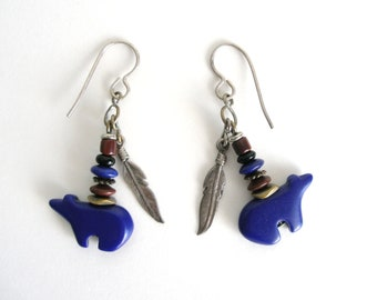 BLACK FRIDAY SALE Lapis Lazuli Bear & Feather Earrings Native American Style Sterling Silver Jewelry Blue