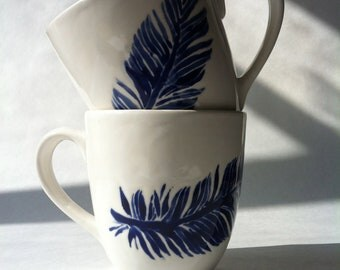 navy blue and white feather ceramic coffee, tea, mugs, cups by Jessica Howard