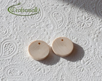 CLEARANCE: Wooden Earring Components for Decoupage or Painting - 20mm Flat Round - set of 20
