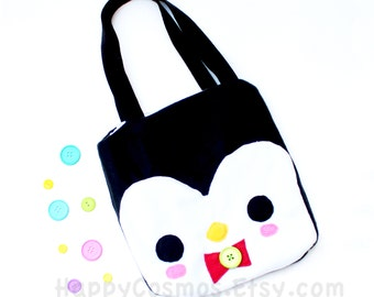 Penguin Tote Bag - Schoolbag, Backpack, Bookbag, Animal Tote Bag, Reusable Bag, Halloween Trick or Treat Bag, Women's Tote, Christmas Gift