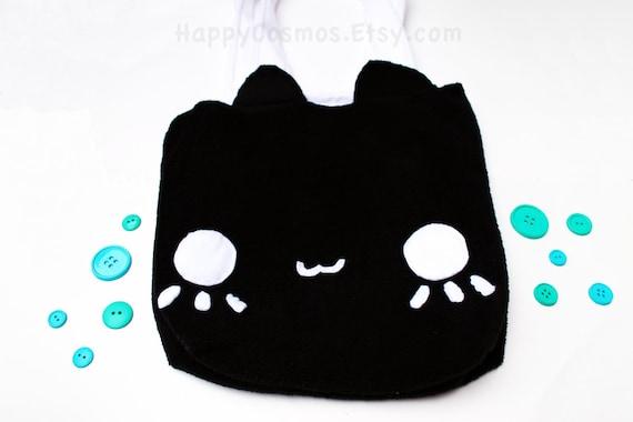 Black Cat Tote Bag -  Schoolbag, Backpack, Bookbag, Animal Tote Bag, Reusable Bag, Women's Tote, Christmas Gift, Halloween Trick or Treat