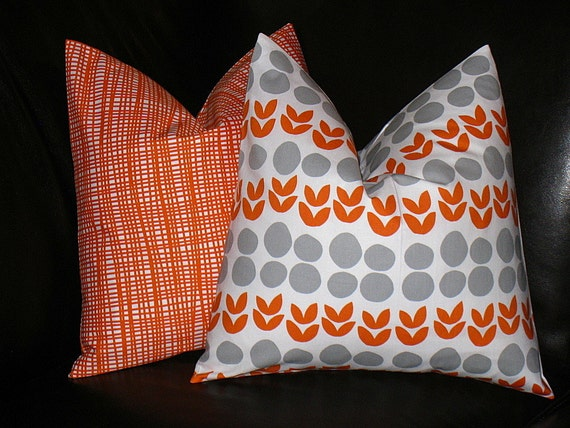 ORANGE Decorative Pillow Covers slate grey by LittlePeepsHomeDecor