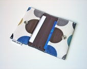 Business Card Holder / double Credit Card Case in duck egg blue with brown dotty Oilcloth