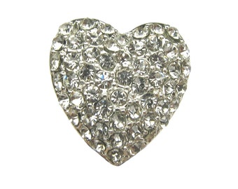 5 Heart-shape Crystal Rhinestone buttons - for Wedding Hair Accessories Shoe Clips Ring Pillow Bouquet RB-112 (19mm or 0.8 inch)