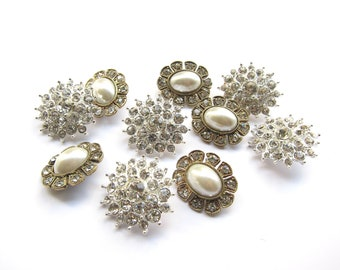 Factory Imperfect Seconds - 5pc RB-025 Crystal and 5pc RB-053 Pearl Rhinestone buttons