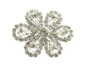 2pc Crystal Rhinestone buttons for Wedding Decoration, Invitation Card, Hair Clip, Shoe Clip, Jewelry Supply RB-114 (35/28mm or 1.4/1.1inch)