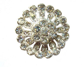 5 Crystal Rhinestone Buttons for Wedding Invitation Cake Decoration Hairclip Accessories Scrapbooking RB-006 (22mm or 0.9 inch)