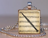 Vintage Sheet Music and Oboe Print Pendant made from an Upcycled Scrabble tile (143E7)