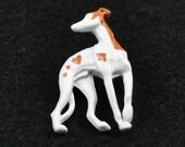 """Greyhound pin - White with brown spots """"LOVE"""""""