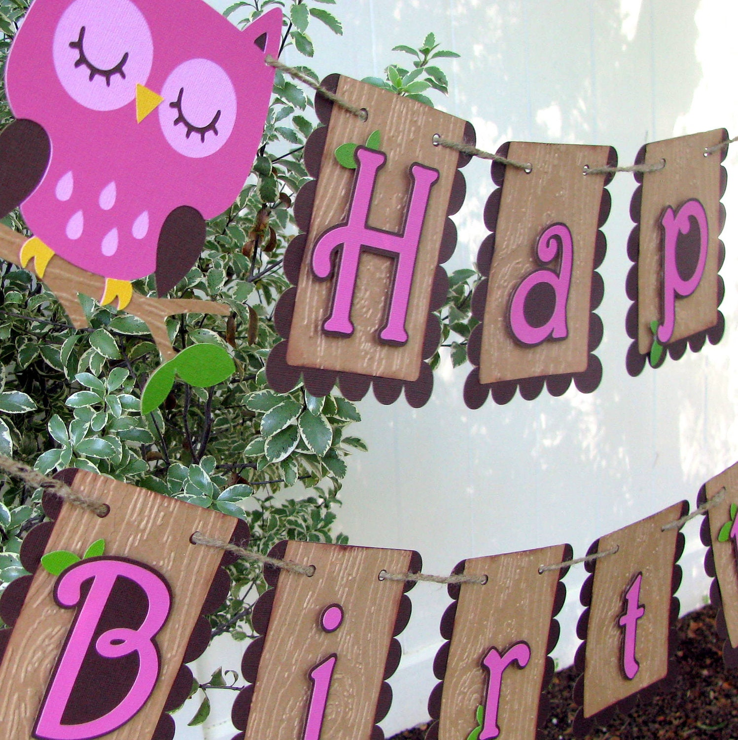 Owl Happy Birthday Banner MADE TO ORDER By Mypaperpantry