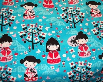 Geishas in the Garden Flannel Fabric-Prewashed 34 inches long-For Diapers, Pj's