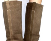 Vintage high heel suede tall mid calf high pixie womens brown tan Leather fashion boots 8 M B