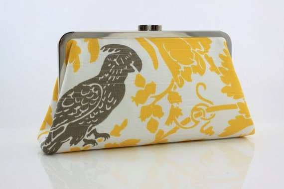 Gray & Yellow Parakeet - 8 inches Larger Silver Frame Clutch - the Christine Clutch