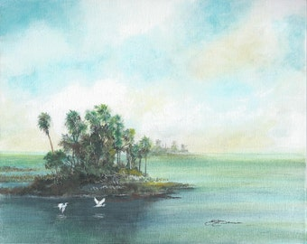 Print open edition 8 by 10 Florida scenic Private Island bowman