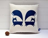Hand Screen Printed Fox Cushion Cover in French Navy