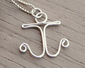 CHARM OMLY Wire Ring,Wire Necklace Charm Pendant Silver Anchor Non Tarnish Silver Plated Wire