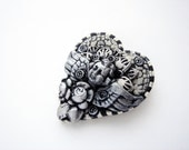 Black and white angel heart steampunk brooch 1 handmade by Marie Segal