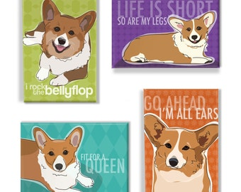 Corgi Gift Magnet Set - Red Pembroke Welsh Corgis Refrigerator Magnets Gifts - Cute Funny Corgi Fridge Magnets