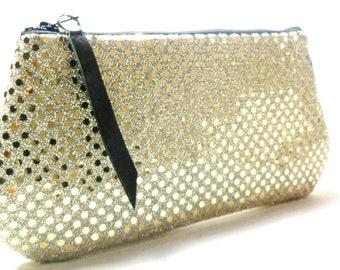 Golden Lights on White Clutch, Sequin Zipper Clutch Purse
