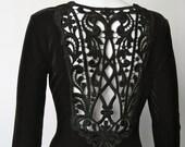 Vintage 1980s black velvet lace cut out Jessica McClintock Dress