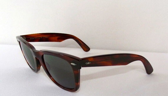 Cool 1980s Tortoise Bausch And Lomb Ray-Ban Wayfarer Sunglasses