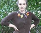 Cardigan Sweater..upcycled, appliqued, and beaded: Retro Fruit