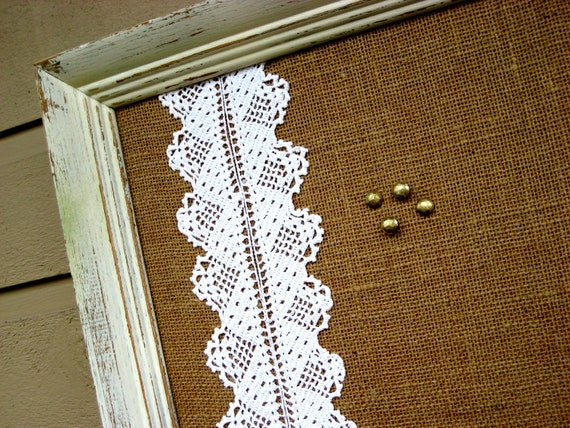 Framed Country Chic Burlap and vintage Lace Bulletin Board, Cottage Chic, distressed, painted frame, Rustic Fall Wedding, 21 x 27 inches