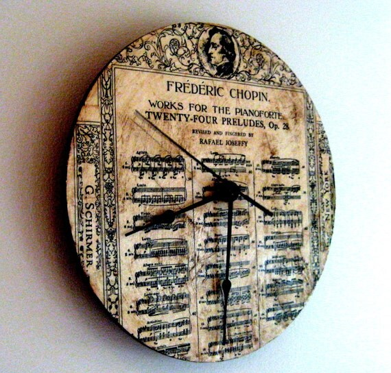 Classical Music Chopin clock, vintage sheet music, Frederic Chopin, music lovers wall clock, 10 inches round