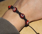 Red and Black Shamballa Bracelet Evil Eye