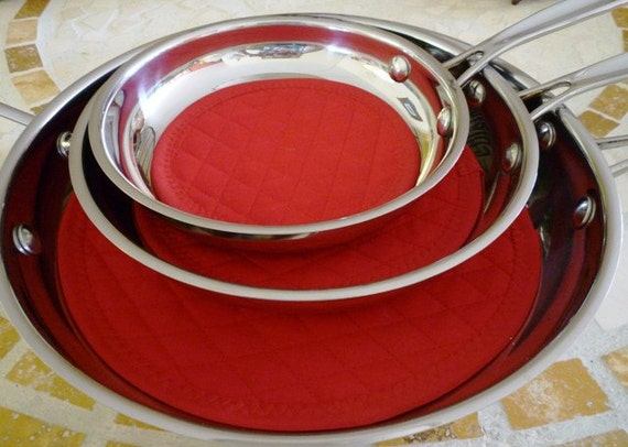 Pan Protectors Fry Pan Cozy Red Fry Pan Storage By Clkconcepts