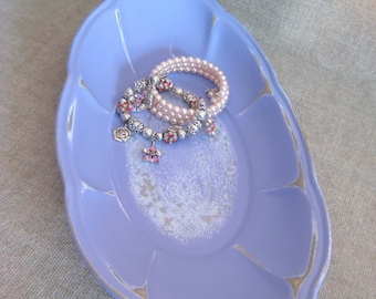 French Lilac Vanity Tray / Trinket Dish / Upcycled Tray in French Lilac