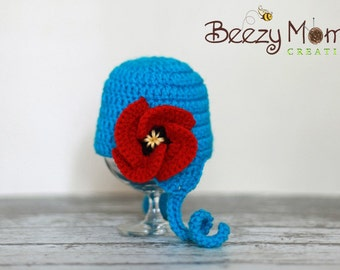 Download PDF crochet pattern 050 - Poppy earflap hat - Multiple sizes from newborn through age 4