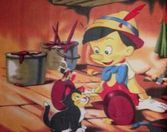Disney Pinocchio Puppet & Figaro Cat Fleece Fabric Throw Blanket or Wall Hanging New