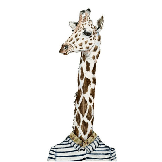 Print Giraffe Giclee print of Giraffe in stripy shirt 8x11