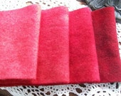 Gemstone Red Coral - hand dyed rug hooking wool fabric -  (1) Fat Quarter - 4 values available