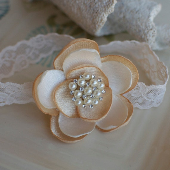 Ivory and Champagne Satin Flower Headband with Pearls, Rhinestones, and Lace Headband