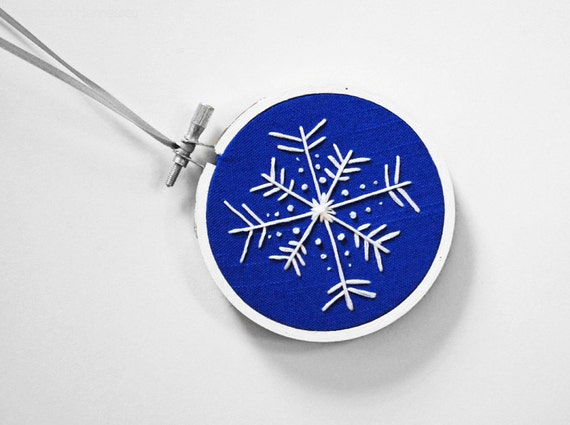 "Royal Blue and White Snowflake Embroidery Hoop Ornament or Holiday Decoration For The Winter Months, 3"" Hoop"