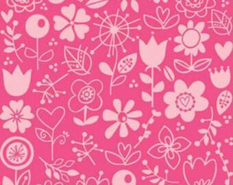 Riley Blake Sunny Happy Skies Pink Floral Fabric - 1 1/2 yard - Last Piece