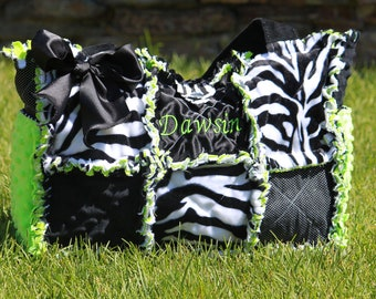 Black and white zebra lime green minky rag quilt diaper bag handbag. For baby boy or girl