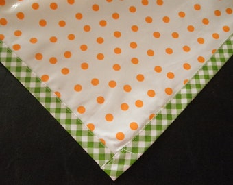 Square Dot Orange Oilcloth Tablecloth with Lime Gingham Trim