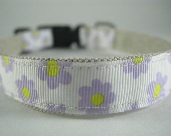 Hemp Dog Collar - Lilac Daisy - 3/4in