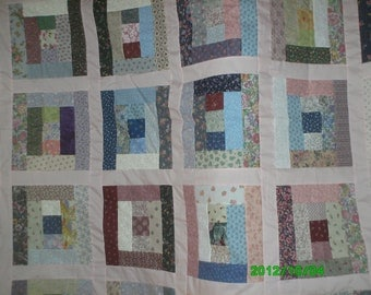 Lower Shipping!  Scrappy Log quilt.  Full size 84 by 96 inches. Gorgeous