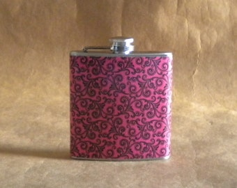 Hot Pink with Black Swirls Print 6 ounce Stainless Steel Gift Flask KR2D 6217