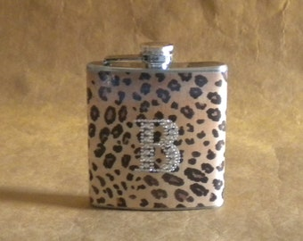 Personalized Gift Leopard Print Flask With ANY Rhinestone Initial 6 ounce Gift Flask KR2D 6050
