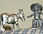 Miniature Cowboy Sheriff and Donkey Country Western Figurines Pewter