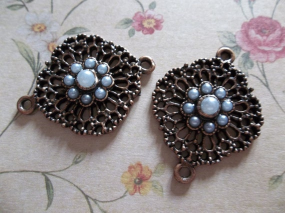 Antiqued Copper Lacy Filigree Shape Connector with Pearl Accents & Two Loops - Qty 2